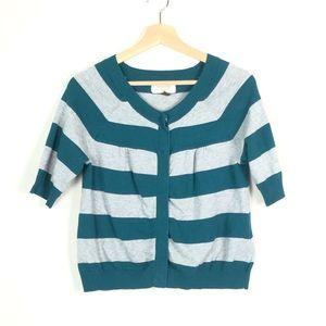 Sonoma Green & Gray Striped 3/4 Sleeve Cardigan